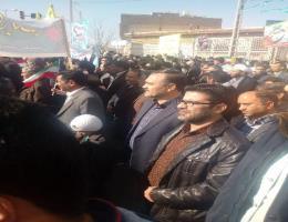 حضور گسترده کارکنان مرکز آموزش فنی و حرفه ای شهید شرکائ بجستان در راهپیمایی یوم الله 22 بهمن