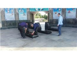 غبار روبی مزار شهدای گمنام در هفته ی ملی مهارت